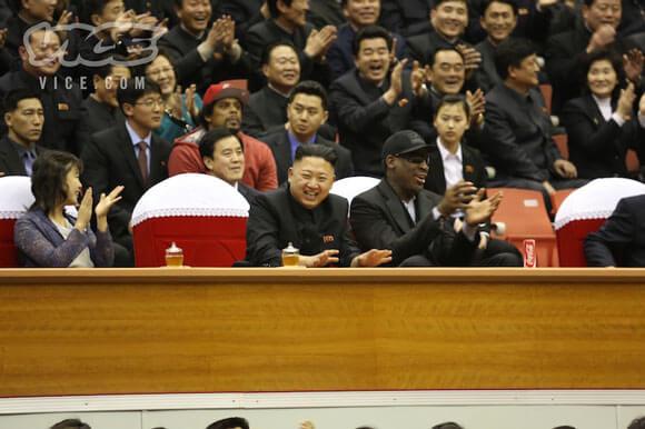 Kim Jong-un and Dennis Rodman Watch Basketball in Vice