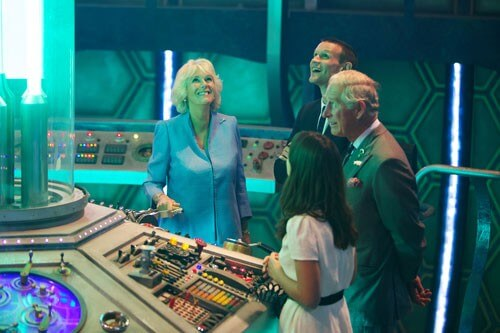 Prince of Wales and Duchess of Cornwall visit the 'Doctor Who' set