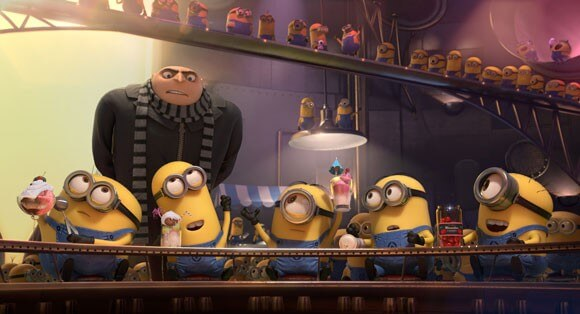 Gru (Steve Carell) and the Minions in a scene from 'Despicable Me 2'
