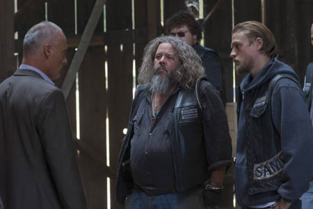 Timothy V Murphy, Mark Boone Jr, and Charlie Hunnam in 'Sons of Anarchy'