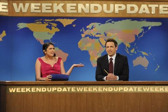 Cecily Strong and Seth Meyers on 'SNL'