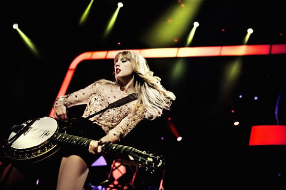 "Taylor Swift performs during her ongoing ""RED Tour."""