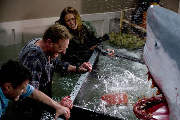 Ian Ziering and Cassie Scerbo pictured in 'Sharknado