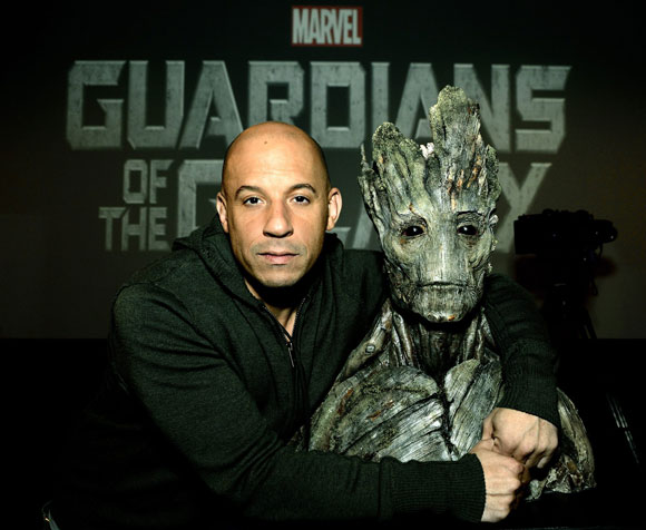 Vin Diesel and Groot from Guardians of the Galaxy