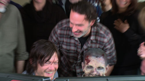 Norman Reedus, Andrew Lincoln, and Nick Santonastasso Zombie Prank