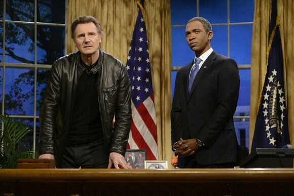 Liam Neeson Warns Putin on SNL