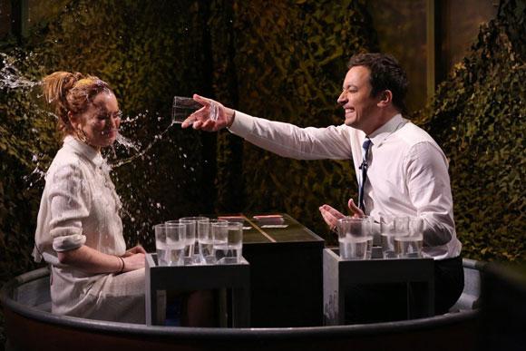 Lindsay Lohan and Jimmy Fallon Water War Battle