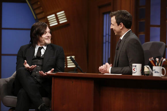 Norman Reedus and Zombie on Late Night with Seth Meyers