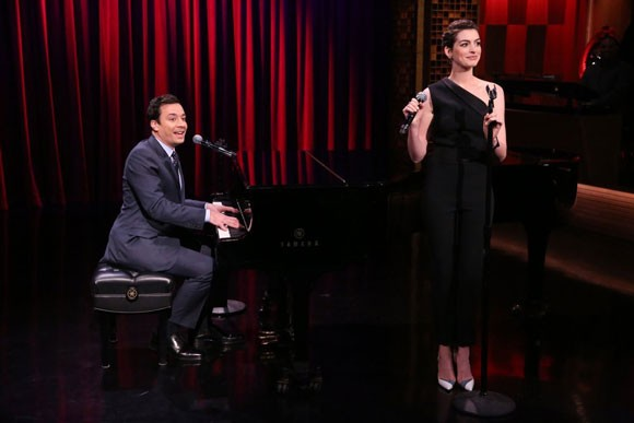 Anne Hathaway and Jimmy Fallon Perform Broadway Rap