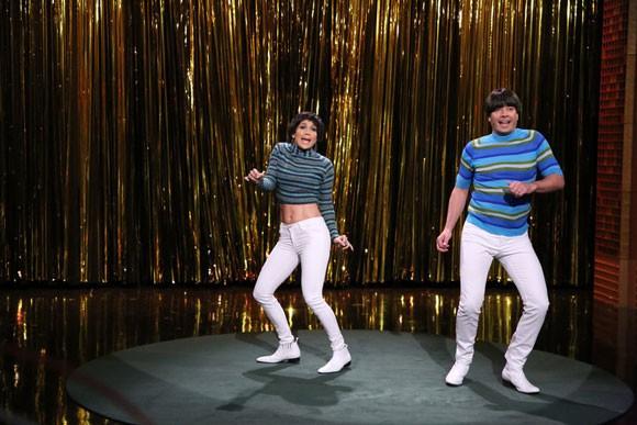 """Singer Jennifer Lopez and host Jimmy Fallon """"Tight Pants"""" skit"""