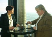 Robin Wright and Philip Seymour Hoffman in A Most Wanted Man