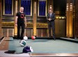 Hugh Jackman and Jimmy Fallon Compete in Pool Bowling