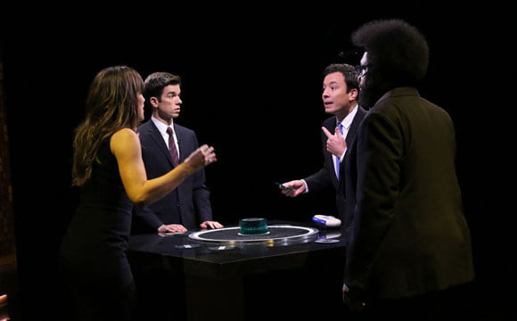 "Jennifer Garner, comedian John Mulaney, host Jimmy Fallon and Ahmir-Khalib ""Questlove"" Thompson play Catchphrase (Photo by: Douglas Gorenstein/NBC)"
