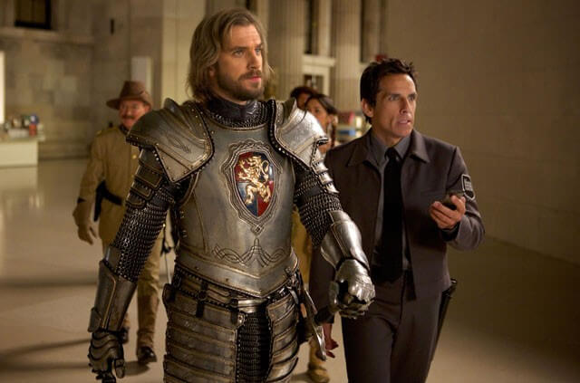Lancelot (Dan Stevens, left) and Larry Daley (Ben Stiller) plan the next move to save the magic in 'Night at the Museum: Secret of the Tomb' (Photo credit: Kerry Brown TM and © 2014 Twentieth Century Fox Film Corporation. All Rights Reserved.)