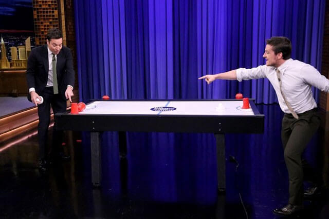 Josh Hutcherson and Jimmy Fallon Play Beer Hockey