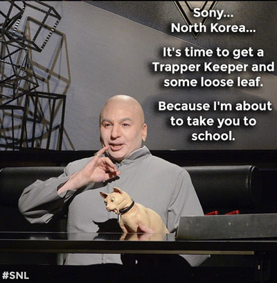 Mike Myers as Dr. Evil on SNL Mocks Sony and Hackers
