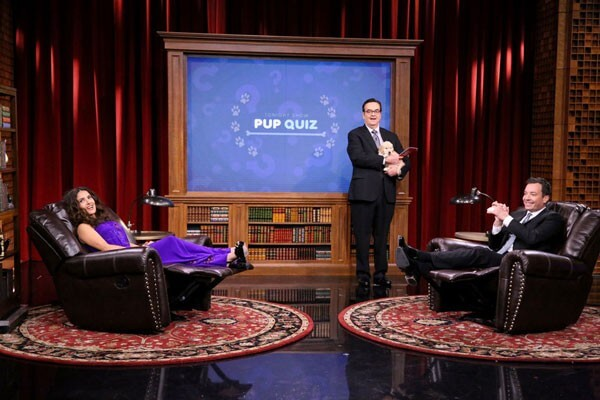 Salma Hayek Takes on Jimmy Fallon in a Game of Pup Quiz