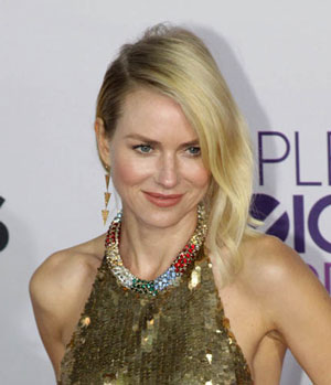 Naomi Watts Smiling in Gold Dress