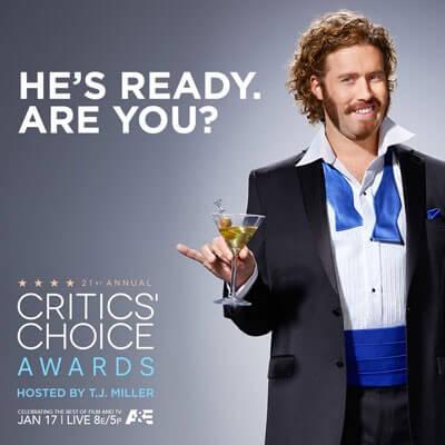 TJ Miller Hosts Critics' Choice Awards
