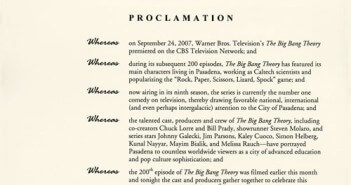 Big Bang Theory Proclamation 200th Episode