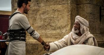 Jack Huston and Morgan Freeman in Ben-Hur
