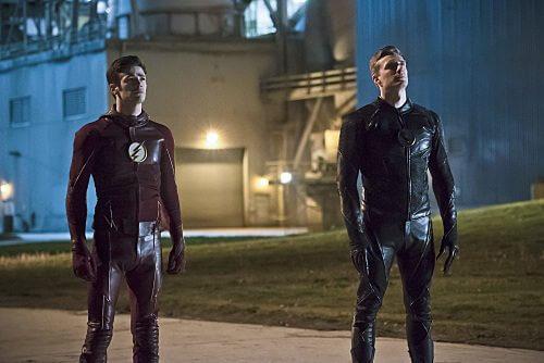 The Flash Season 2 Grant Gustin and Teddy Sears