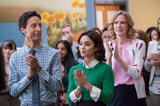 Danny Pudi and Vanessa Hudgens in Powerless