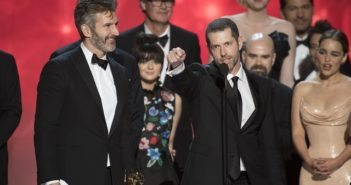 David Benioff and D.B. Weiss with the Game of Thrones at the Emmys 2016