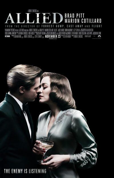 Allied Movie Poster with Brad Pitt and Marion Cotillard