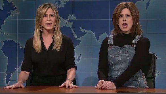 Jennifer Aniston and Vanessa Bayer on SNL