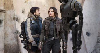 Rogue One A Star Wars Story Diego Luna, Felicity Jones, and K-2S0