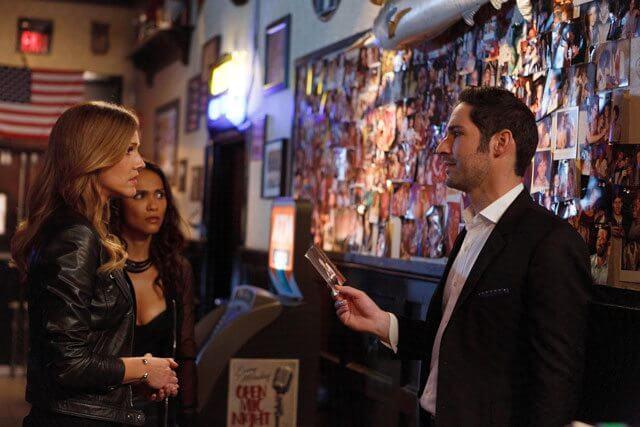 Lucifer Season 2 Episode 12 Tom Ellis and Tricia Helfer