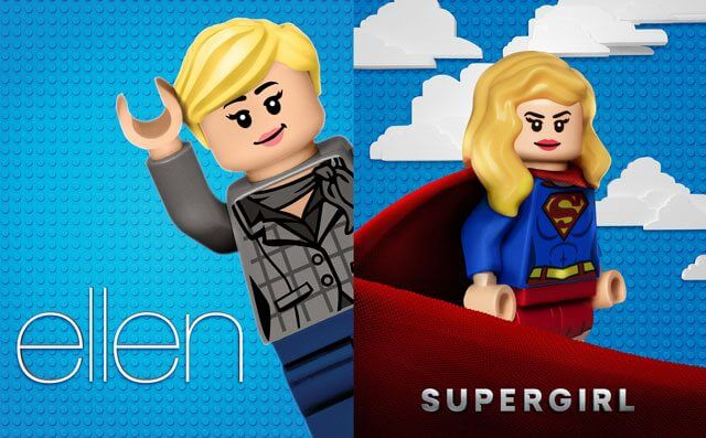 Ellen and Supergirl LEGO Billboards