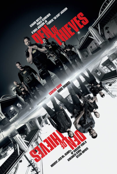 Den of Thieves Movie Poster Featuring Gerard Butler, Pablo Schreiber, Curtis '50 Cent' Jackson, and O'Shea Jackson, Jr.