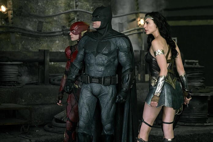 Justice League stars Gal Gadot, Ezra Miller and Ben Affleck