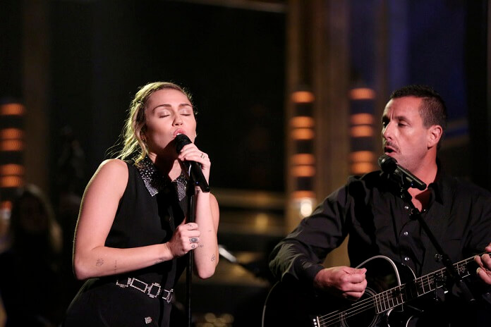 Tonight Show Miley Cyrus and Adam Sandler