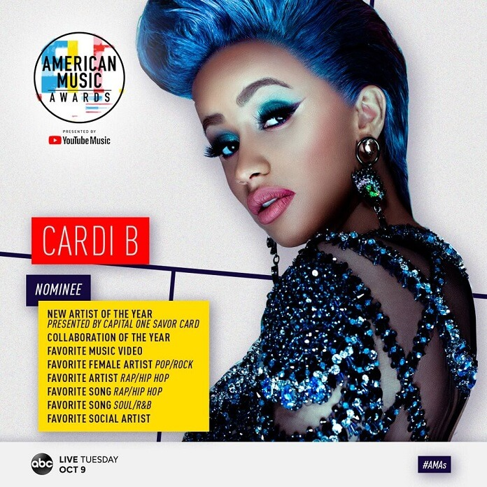 American Music Awards 2018 Nominees Announced: Cardi B