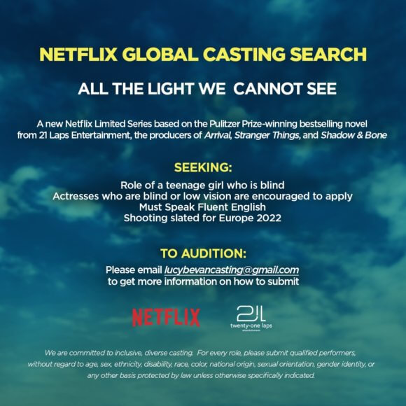 All the Light We Cannot See Casting Call
